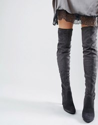 Dune Sibyl Thigh High Suede Heeled Over The Knee Boots Grey Suede