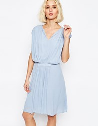 Paisie Drape Dress With Gathered Waist Pale Blue