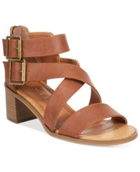 Rampage Havarti Block Heel City Sandals Women's Shoes Cognac