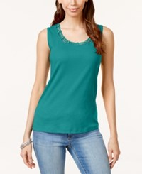 Karen Scott Cutout Tank Top Only At Macy's New Pool Green