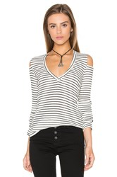 Monrow V Neck Rib Cut Out Long Sleeve Cream