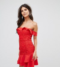 Jarlo Off Shoulder Mini Dress With Layered Skirt Detail Red