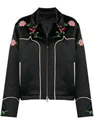 Diesel Black Gold Cropped Jacket In Embroidered Duchesse Black