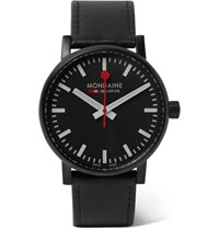 Mondaine Ev02 Brushed Stainless Steel And Leather Watch Black