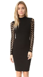 Milly Lattice Sleeve Fitted Dress Black