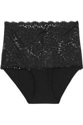 Lonely Dahlia Stretch Jersey And Lace Briefs Black