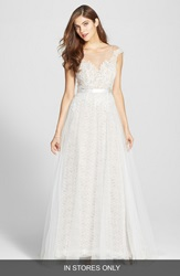 Watters 'Farah' Tulle Lace And Charmeuse Gown In Stores Only Ivory Bronze