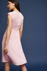 Anthropologie Ruched Gingham Dress Pink