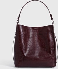 Allsaints Polly North South Leather Tote Bag Bordeaux Red