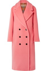 Burberry Oversized Double Breasted Wool And Cashmere Blend Coat Pink