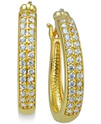Giani Bernini Cubic Zirconia Pave Hoop Earrings In 18K Gold Plated Sterling Silver Only At Macy's Yellow Gold
