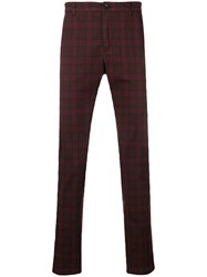 Department 5 Checked Slim Fit Trousers Red