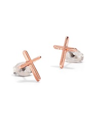 Bing Bang Skinny Cross 14K Rose Gold Stud Earrings
