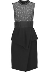 Proenza Schouler Peplum Wool Crepe Mini Dress Black