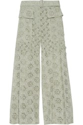 Valentino Broderie Anglaise Cotton Wide Leg Pants Mint
