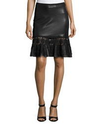 Elie Tahari Dallas Crochet Trim Leather Skirt Black