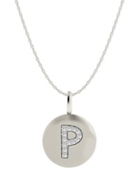 Macy's 14K White Gold Necklace Diamond Accent Letter P Disk Pendant