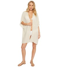 Echo Design Solid Open Front Caftan Stone Clothing White