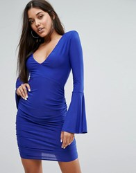 Club L Long Fluted Sleeve Ruched Mini Bodycon Dress Cobalt Blue