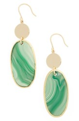 Nordstrom Women's Semiprecious Stone Double Drop Earrings Green Gold