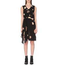 Allsaints Vista Brocade Silk Dress Black