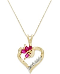 Macy's Ruby 1 2 Ct. T.W. And Diamond Accent Heart Pendant Necklace In 14K Gold Red