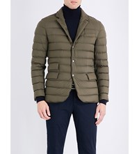 Ralph Lauren Purple Label Suede Detail Down Filled Quilted Shell Jacket Olive