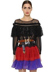 Alberta Ferretti Silk Chiffon And Macrame Lace Top