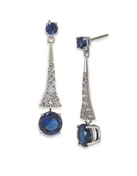Carolee Crystal Linear Earrings Silver