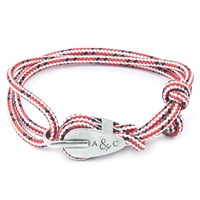 Anchor And Crew Tyne Rope Silver Braceletred Dash