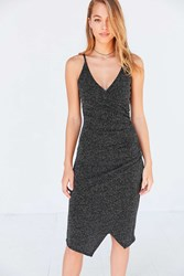 Silence And Noise Sparkly Bodycon Wrap Midi Dress Black