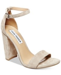 Steve Madden Women's Carrson Ankle Strap Dress Sandals Taupe Suede