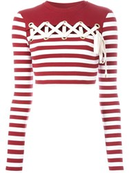 House Of Holland Striped Long Sleeve Cropped T Shirt Red
