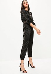 Missguided Black High Shine Piping Detail Satin Joggers