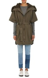 Army By Yves Salomon Women's Cotton Fur Lined Belted Cape Dark Green
