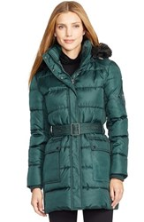 Women's Lauren Ralph Lauren Faux Fur Trim Belted Down And Feather Fill Coat