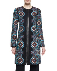 Andrew Gn Floral Mosaic Jacquard Zip Coat