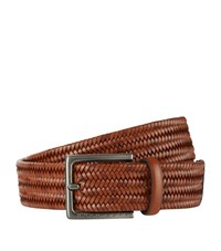 Boss Woven Leather Belt Unisex Beige