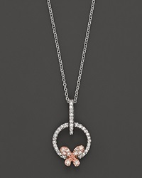 Bloomingdale's Diamond Butterfly Pendant Set In 14K Rose And White Gold 0.20 Ct. No Color