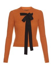 Rochas Bow Front Ribbed Knit Sweater Orange