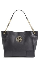 Tory Burch 'Small Britten' Leather Slouchy Tote Black