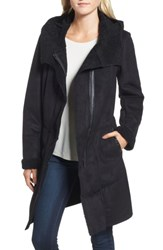 French Connection Women's Faux Shearling Hooded Coat Black