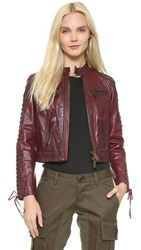Dsquared Leather Icon Jacket Red