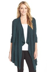 Women's Barefoot Dreams Drape Front Cardigan Emerald Midnight