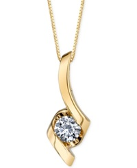 Sirena Diamond Twist Pendant Necklace 1 8 Ct. T.W. In 14K Gold Yellow Gold