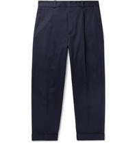 Acne Studios Cropped Pierre Pleated Stretch Cotton Trousers Navy