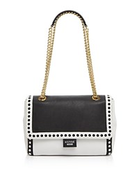 Boutique Moschino Laser Cut Shoulder Bag White Black