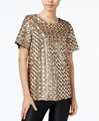 Bar Iii Sequined Top Only At Macy's Antique Gold Combo