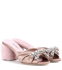 Miu Miu Embellished Satin And Shearling Sandals Pink