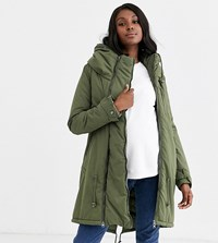 Mamalicious Maternity 2 In 1 After Birth Functionality Padded Coat In Khaki Green